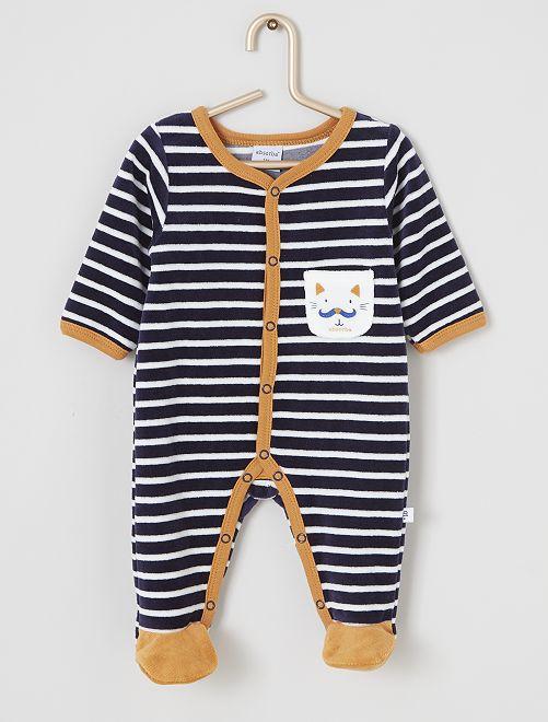 Pijama de terciopelo 'Absorba'                             azul marino a rayas
