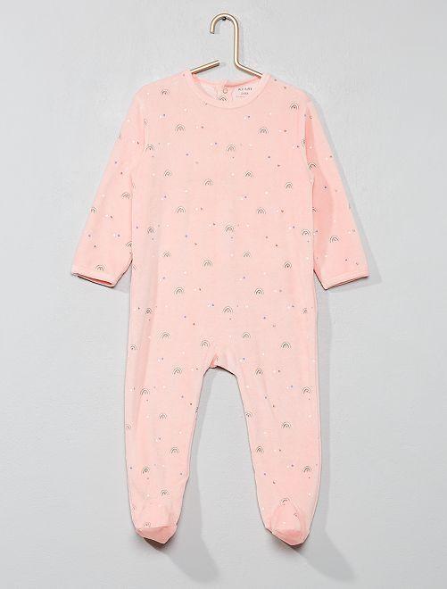 Pijama de terciopelo 'arcoíris'                             ROSA Bebé niña