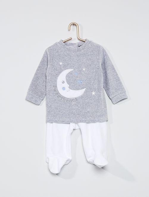 Pijama de terciopelo                             blanco/gris