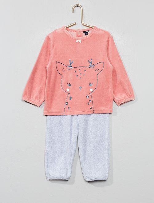 Pijama de terciopelo 'ciervo'                                                     ROSA Bebé niña