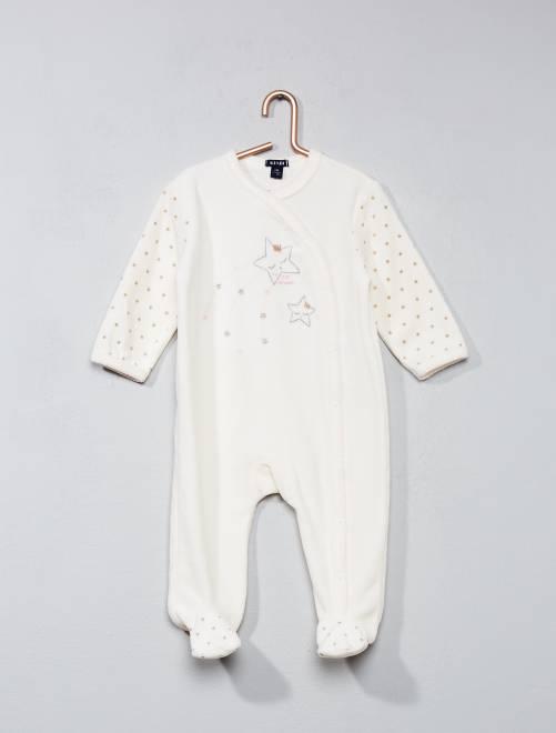 Pijama de terciopelo con estampado de estrellas blanco Bebé niña