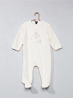 Pijamas, batas - Pijama de terciopelo con estampado de estrellas