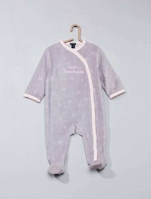 Pijama de terciopelo con estampado de estrellas gris rosa Bebé niña