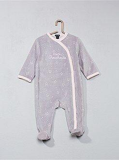 Pijamas - Pijama de terciopelo con estampado de gato - Kiabi