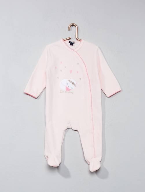 Pijama de terciopelo con estampado de gato                                         rosa Bebé niña