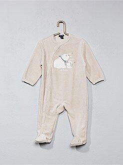 Pijamas, batas - Pijama de terciopelo con estampado de 'oso'