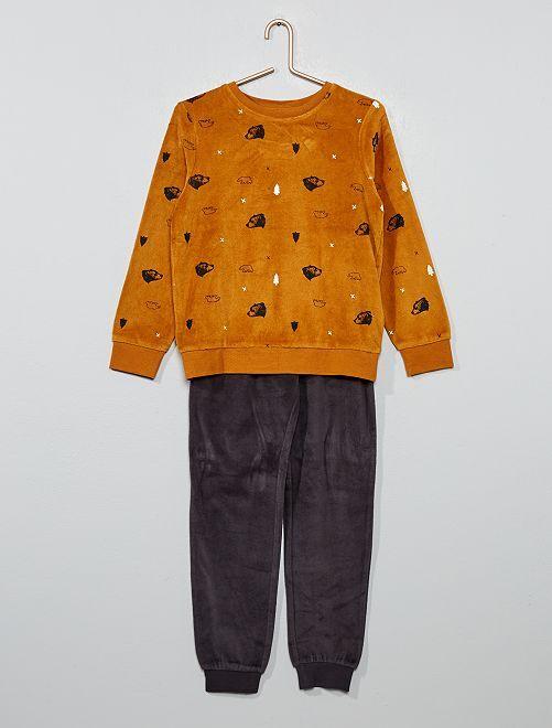 Pijama de terciopelo con estampado de 'oso'                                                                             NEGRO