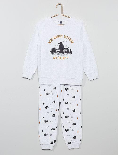 Pijama de terciopelo con estampado de 'oso y montaña'                                                                 gris