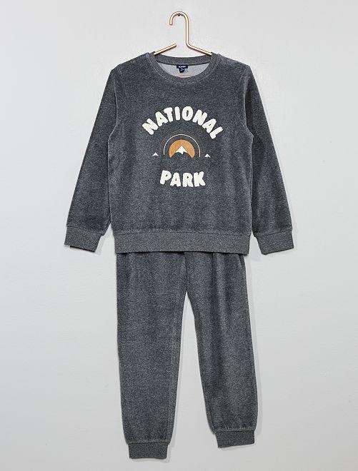 Pijama de terciopelo con estampado de 'rizo'                                                     GRIS
