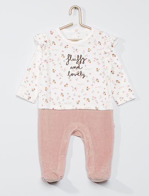 Pijama de terciopelo con flores 'Petit Béguin'                             ROSA