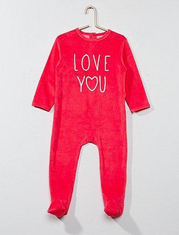 Pijama de terciopelo con mensaje estampado - Kiabi