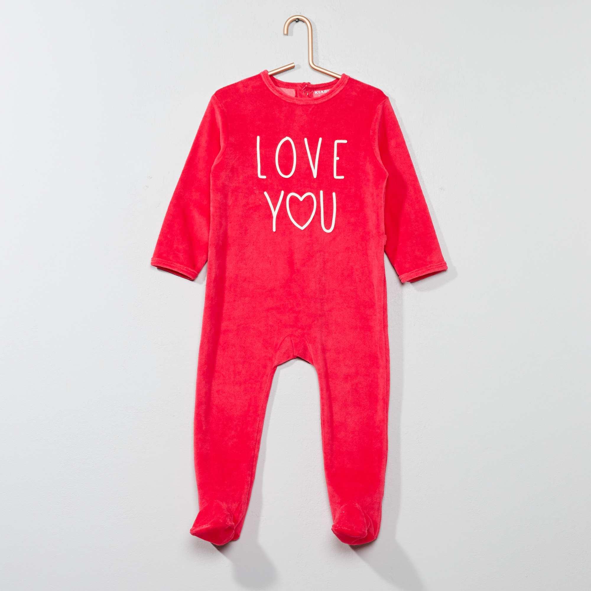 dcc3a4848 Pijama de terciopelo con mensaje estampado ROSA Bebé niña. Loading zoom