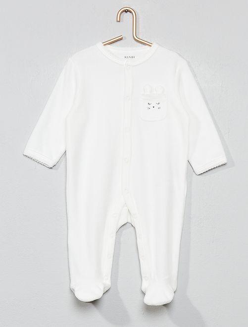 Pijama de terciopelo 'conejo'                                                                 BLANCO Bebé niña