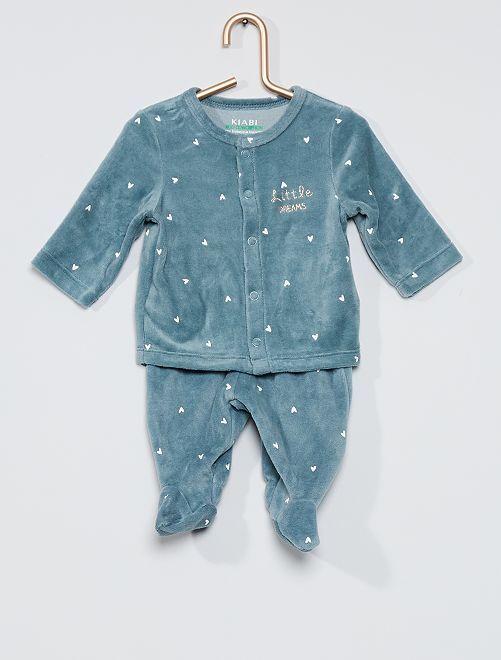 Pijama de terciopelo de 2 piezas eco-concepción                                                                 corazones