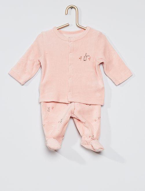 Pijama de terciopelo de 2 piezas eco-concepción                                                                 ROSA