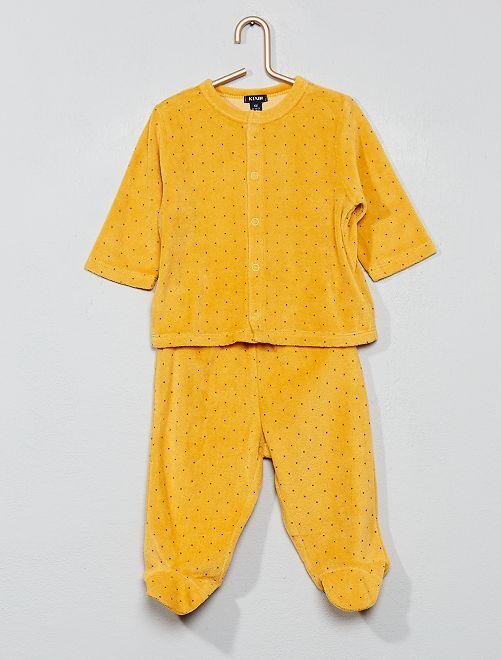 Pijama de terciopelo de algodón orgánico                                                                                         AMARILLO Bebé niña