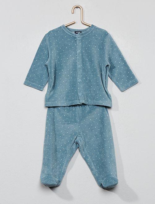 Pijama de terciopelo de algodón orgánico                                                                                         AZUL Bebé niña