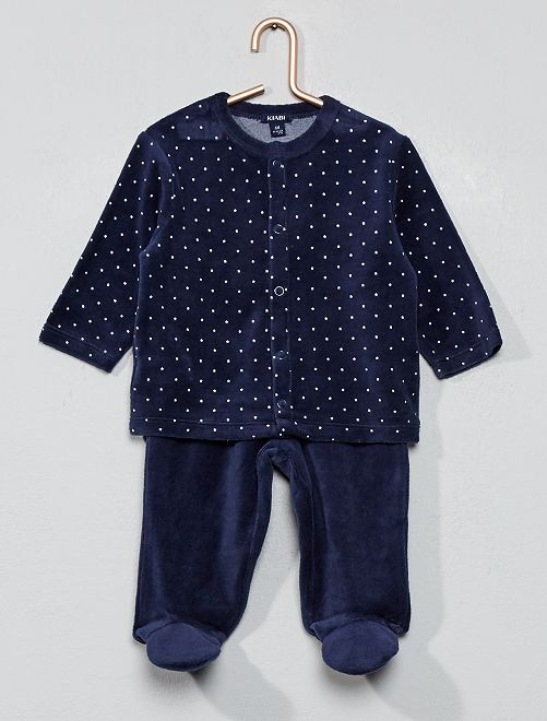 Pijama de terciopelo de algodón orgánico                                                                                         azul iris