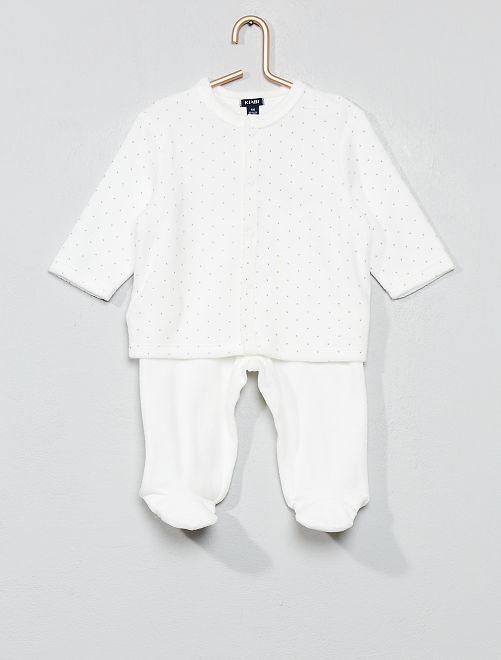 Pijama de terciopelo de algodón orgánico                                                                                         BLANCO