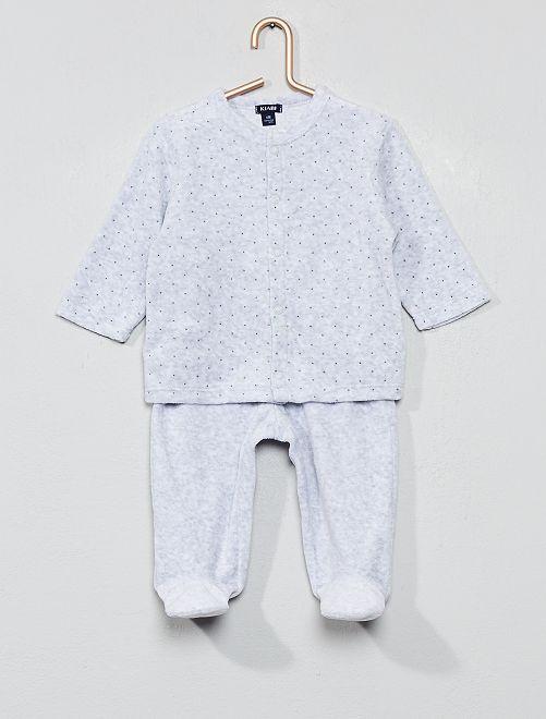 Pijama de terciopelo de algodón orgánico                                                                                         GRIS Bebé niño
