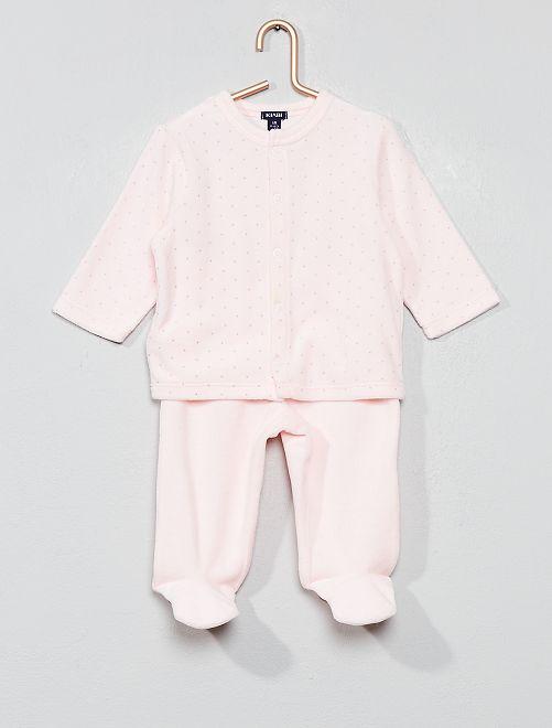 Pijama de terciopelo de algodón orgánico                                                                                         ROSA Bebé niña