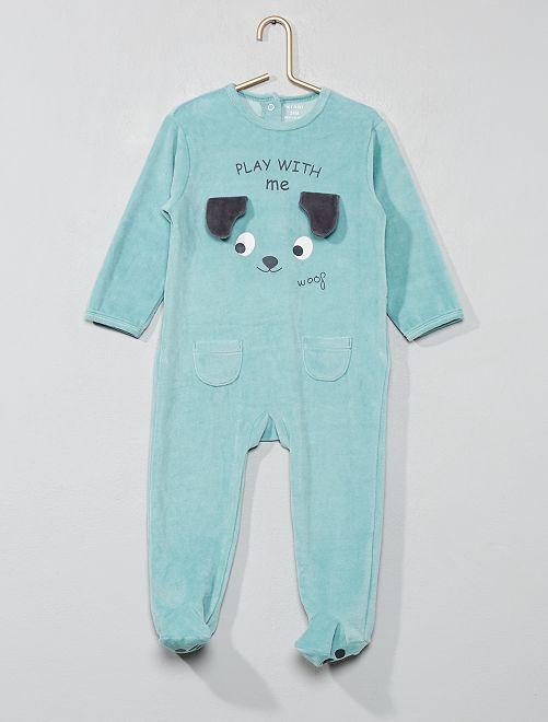 Pijama de terciopelo de animales                             VERDE Bebé niño