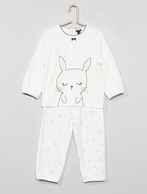 Pijama de terciopelo de 'conejo'                                                     BLANCO Bebé niña