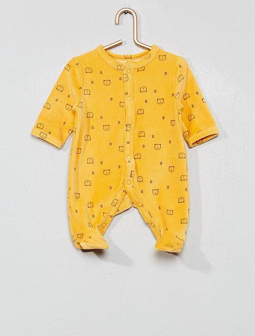 Pijama de terciopelo de 'oso'                                                                             AMARILLO Bebé niño