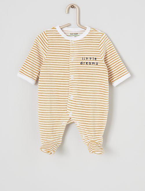 Pijama de terciopelo eco-concepción                                                                                                     BLANCO