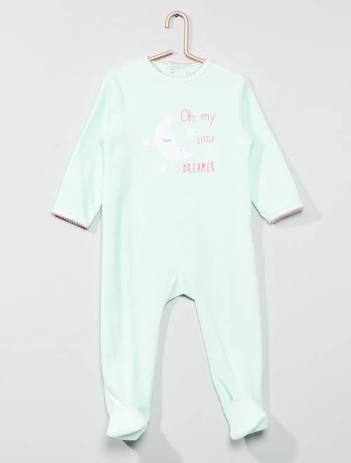 Pijama de terciopelo estampado                                                                                                     AZUL Bebé niña