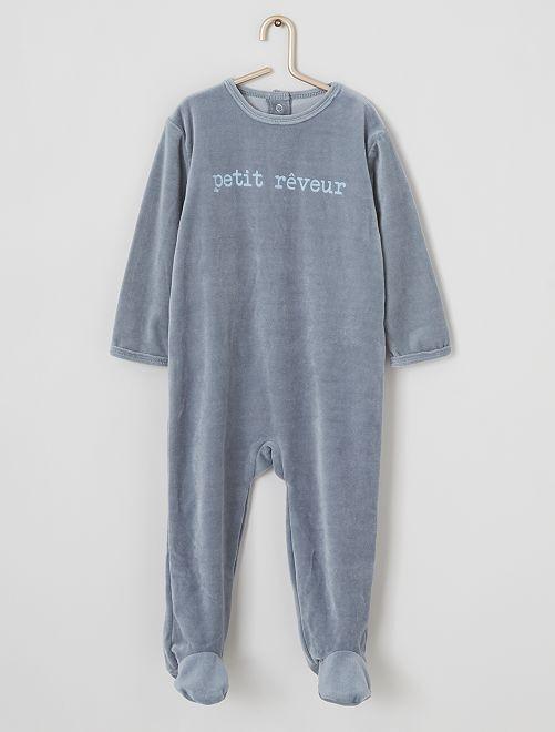 Pijama de terciopelo estampado                                                                                         AZUL