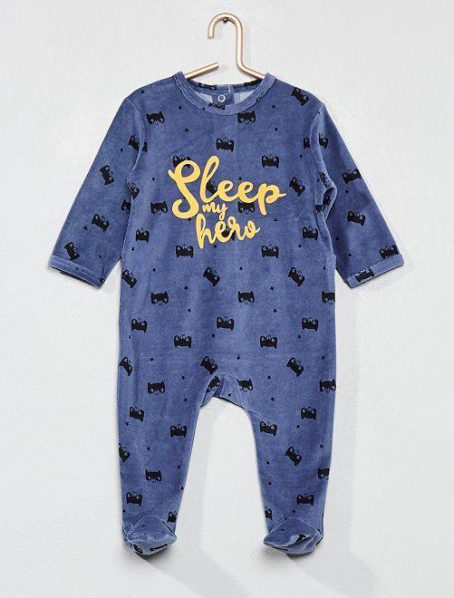 Pijama de terciopelo estampado                             AZUL Bebé niño