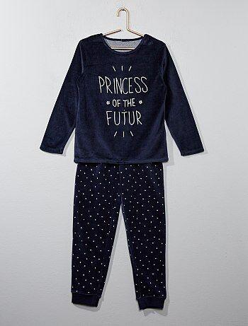 Pijama de terciopelo estampado - Kiabi