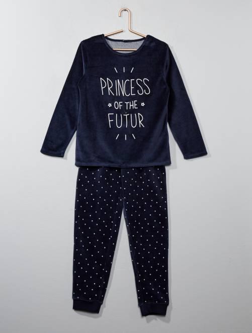 Pijama de terciopelo estampado                     azul Chica