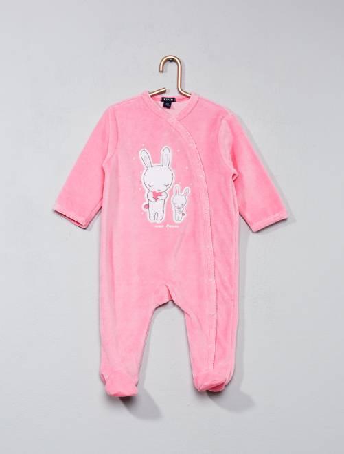 Pijama de terciopelo estampado conejito                             rosa Bebé niña
