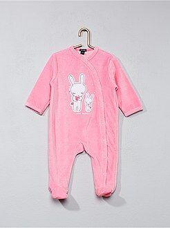 Niña 0-36 meses - Pijama de terciopelo estampado conejito - Kiabi