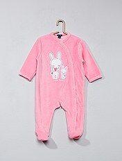 Pijama de terciopelo estampado conejito