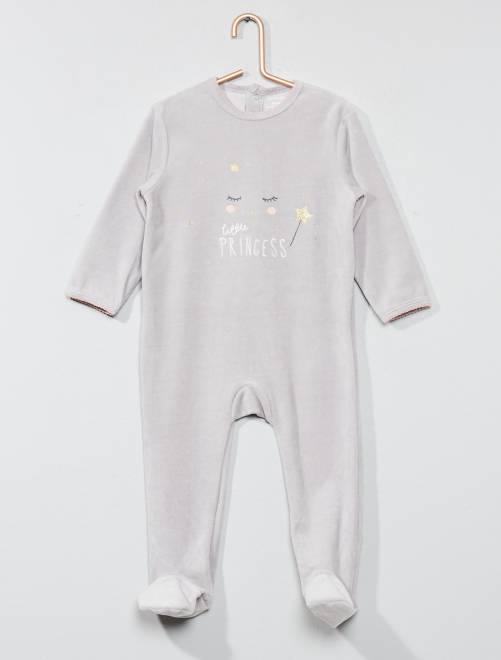 Pijama de terciopelo estampado                                                                                                     GRIS Bebé niña