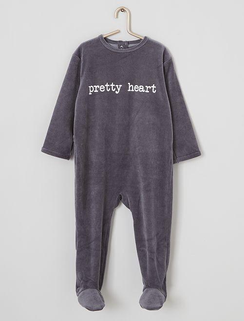Pijama de terciopelo estampado                                                                                         GRIS