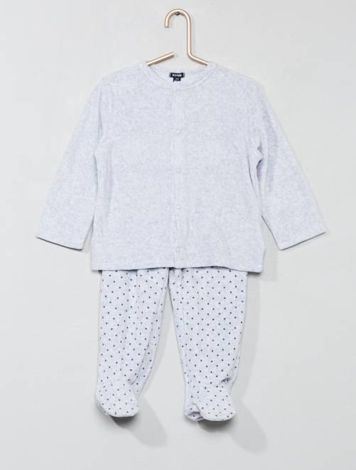 Pijama de terciopelo estampado                                         GRIS Bebé niño