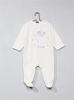 Pijamas - Pijama de terciopelo estampado 'oveja' - Kiabi