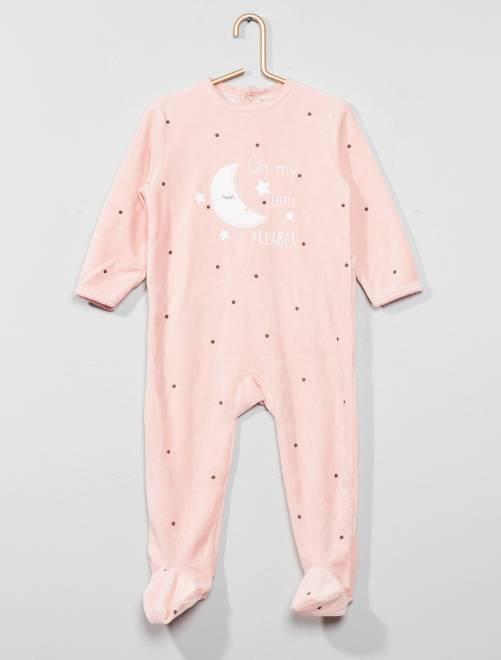 Pijama de terciopelo estampado                                                         ROSA Bebé niña