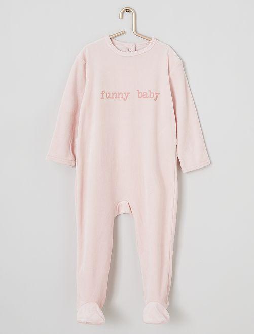 Pijama de terciopelo estampado                                                                                         ROSA