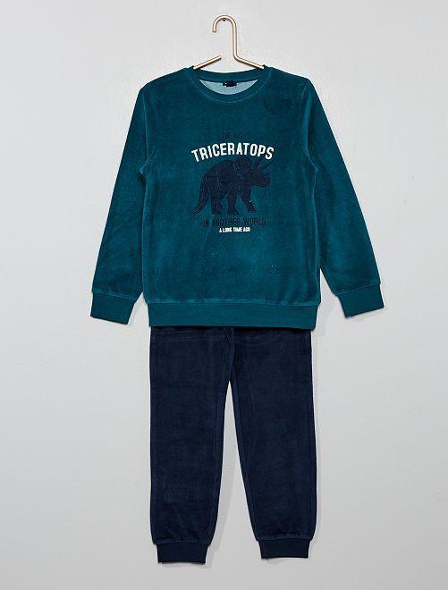 Pijama de terciopelo estampado                                                                             VERDE