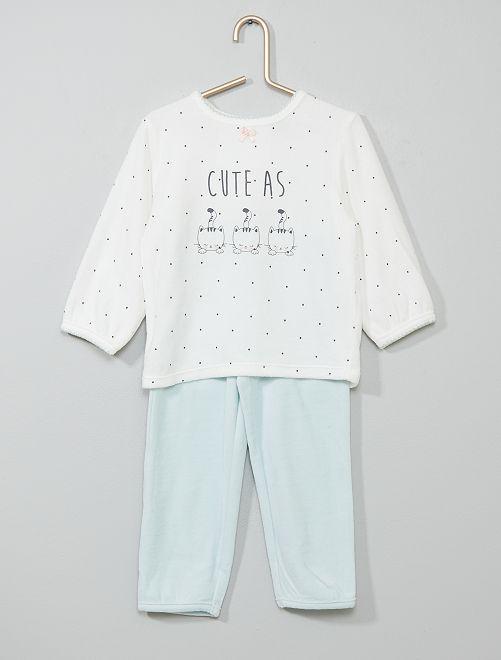 Pijama de terciopelo 'gato'                                                     BLANCO