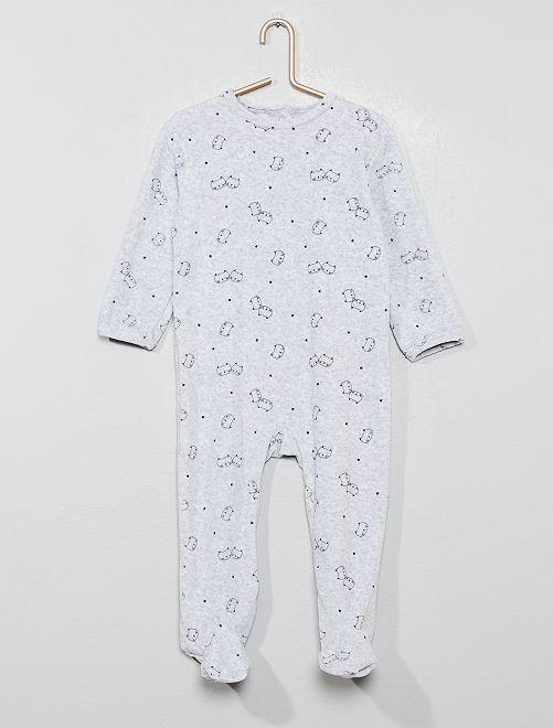 Pijama de terciopelo 'gato'                                                                                                     GRIS