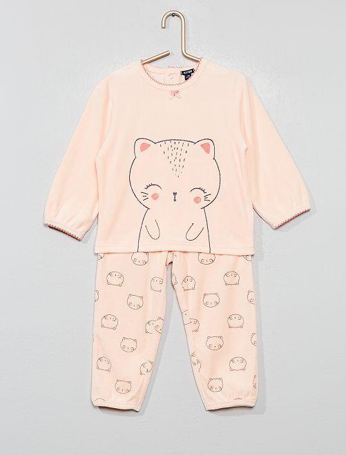 Pijama de terciopelo 'gato'                                                     NARANJA Bebé niña