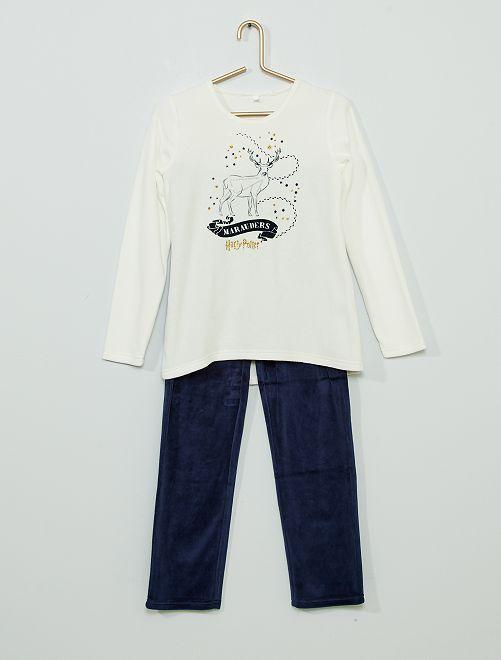 Pijama de terciopelo 'Harry Potter'                             beige/marino