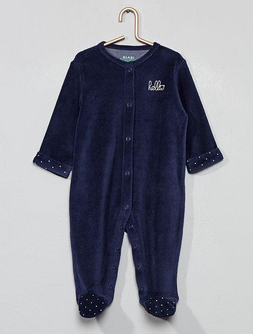 Pijama de terciopelo 'hello' de algodón orgánico                                                                                         azul iris Bebé niño