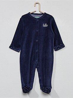 Niño 0-36 meses - Pijama de terciopelo 'hello' de algodón orgánico - Kiabi
